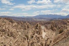 Quebrada de las Flechas在西北阿根廷 图库摄影