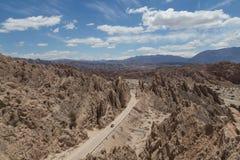 Quebrada de las Flechas在西北阿根廷 免版税库存图片