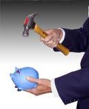 Quebrando o banco piggy Foto de Stock Royalty Free