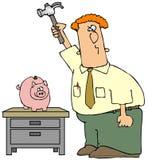 Quebrando o banco Piggy ilustração royalty free