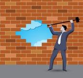 Quebrando o conceito do negócio da parede Foto de Stock