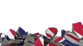 Quebrando a parede com a bandeira pintada de Grâ Bretanha Animação 3D conceptual da crise britânica ilustração royalty free