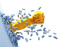 Quebrando a parede de tijolo à mão Imagens de Stock Royalty Free