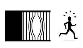 Quebre o conceito livre, fuga de presos, escape da cadeia Fotografia de Stock