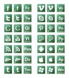 Quebrou ícones sociais maus dos meios Imagens de Stock Royalty Free