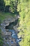 Quechee Gorge, Quechee Village, Town of Hartford, Windsor County, Vermont, United States. Scenic view of gorge from Quechee Gorge Bridge, Quechee Village, in the royalty free stock photos