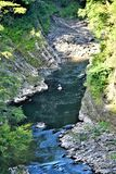 Quechee Gorge, Quechee Village, Town of Hartford, Windsor County, Vermont, United States. Scenic view of gorge from Quechee Gorge Bridge, Quechee Village, in the stock images