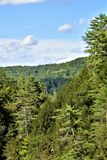Quechee Gorge, Quechee Village, Town of Hartford, Windsor County, Vermont, United States. Scenic view of mountains from Quechee Gorge Bridge, Quechee Village, in royalty free stock photo