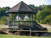 Quechee Vermont Gazebo after Irene. Tropical storm Irene dumped tons of water on Vermont causing massive flooding. This gazebo or band stand in a Quechee Vermont stock photos