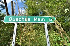 Quechee Village, Town of Hartford, Windsor County, Vermont, United States. Street signage located in the village of Quechee, in the town of Hartford, Windsor stock image