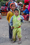 Quechua boys in a village in the Andes, Ollantaytambo, Peru Royalty Free Stock Photos