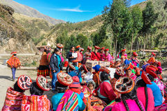 Quechua community receives help in a village in the Andes, Ollan Stock Photos