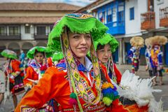 Quechua Dame Portrait in Cusco, Peru stockbild