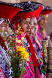 Quechua Elders in the Sacred Valley. Pisac, Peru - May 15: Quechua elders in traditional clothing in a small ceremony in the Pisac Market. May 15 2016, Pisac Royalty Free Stock Image