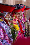 Quechua Elders in the Sacred Valley. Pisac, Peru - May 15: Quechua elders in traditional clothing in a small ceremony in the Pisac Market. May 15 2016, Pisac Stock Image