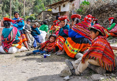 Quechua family in a village in the Andes, Ollantaytambo, Peru Stock Image