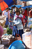 Quechua Indian women bargain and sell Royalty Free Stock Photo