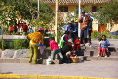 Quechua Indians  waiting for a bus, Royalty Free Stock Image