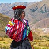 Quechua Inheemse Vrouw, Cusco, Peru stock afbeelding