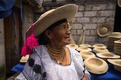 Quechua kobieta jest ubranym tradycyjnego odczuwanego kapelusz Obrazy Royalty Free