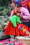 Quechua mother and daughter in a village in the Andes, Ollantayt Royalty Free Stock Photos