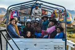 Quechua people traveling in the Sacred Valley, Peru Stock Images