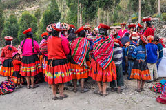 Quechua reunion in a village in the Andes, Ollantaytambo, Peru Stock Images
