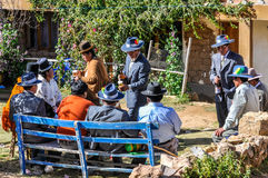 Quechua wedding on the Isla del sol on Lake Titicaca in Bolivia Stock Images