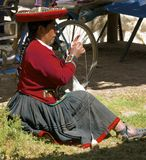 Quechua woman knitting, Peru Stock Photos