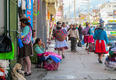 Quechua woman in traditional cloth on the street of Huaraz city. Quechua woman in traditional cloth, latin american women in South America city. Peru, Bolivia stock images