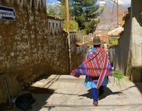 Quechua woman, traditional costume. Cusco, Peru stock photos