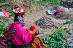 Quechua woman working in a village in the Andes, Ollantaytambo, Royalty Free Stock Photography