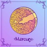 quecksilber Stilisierte Illustration von Mercury in der Hand Art zeichnend Die Symbole von Astrologie und von Astronomie lizenzfreie abbildung