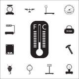 Quecksilber thermometericon Messelementikonen-Universalsatz für Netz und Mobile vektor abbildung
