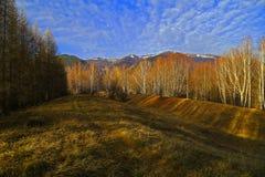 Queda atrasada ou inverno adiantado nas montanhas imagens de stock