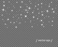 Queda branca abstrata das estrelas Brilho monocromático da pureza Molde do vetor do elemento isolado em um fundo transparente ilustração do vetor