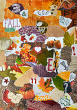 Queda, colagem da placa do humor da atmosfera da estação do outono Imagens de Stock Royalty Free