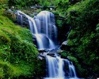 Queda da água: água branca no fluxo Fotos de Stock