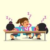 Queda da equipe da mulher de negócios dos desenhos animados adormecida Imagens de Stock
