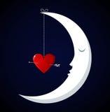 Queda da lua no fundo do dia dos Valentim do amor Foto de Stock Royalty Free
