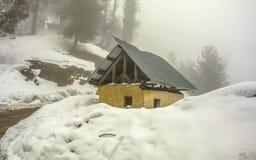 Queda da neve no gulmarg Imagens de Stock