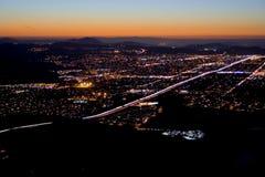 Queda da noite da cidade Fotografia de Stock Royalty Free