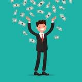 Queda das contas de dinheiro ao homem de negócios alegre Ilustração do vetor Fotografia de Stock Royalty Free
