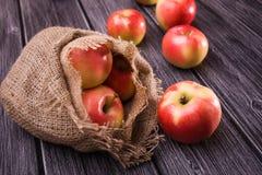 Queda das maçãs fora do saco imagem de stock