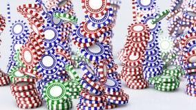 Queda das microplaquetas de pôquer ilustração stock