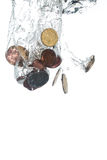 Queda das moedas Foto de Stock Royalty Free