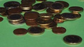 Queda das moedas do Euro video estoque