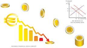 Queda das moedas do Euro Ilustração do Vetor