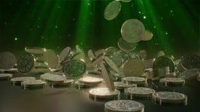 Queda de Bitcoins rendição 3d ilustração stock