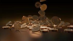 Queda de Bitcoins rendição 3d ilustração royalty free